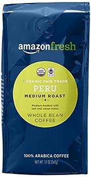 AmazonFresh Organic Fair Trade Peru Whole Bean Coffee Medium Roast 12 Ounce