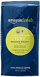 AmazonFresh Organic Fair Trade Peru Whole Bean Coffee, Medium Roast, 12 Ounce