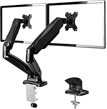 H Huanuoav Adjustable Dual Arm Monitor Mount Desk Stand