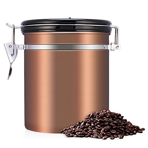 Stainless Steel Coffee Canister - Large - Keep Your Best Coffee Beans and Grounds Fresh for Months, 1.5L Airtight Coffee Beans Container Storage Canister Can(Gold)
