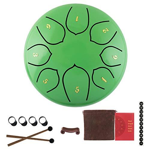 Lotusblumen-Stil Stahl Zungentrommel 15,2 cm Hand Pan Percussion Drum D-Dur 8 Stimme Ethereal Drum Instrument Set mit Drum Tragetasche 2 Drumsticks Tutorial Book 4 Finger Picks für Erwachsene Kinder