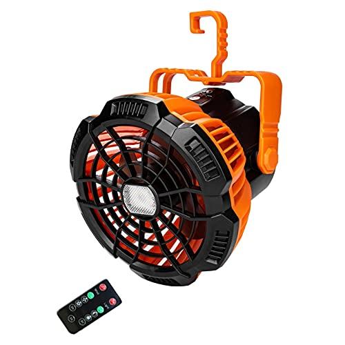 XIGAWAY Ventilador de camping recargable USB con linterna LED Control remoto Timing Hanging Fan
