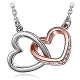 Kami Idea San Valentin Collar para Mujer - Mi Destino - Colgante de Corazón a Corazón, Cristales de Swarovski, Joyas de Moda de Oro Rosa para Mujer, Paquete de Regalo