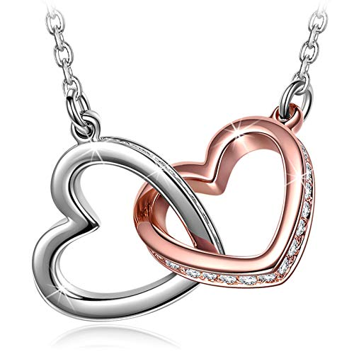 QIANSE Necklaces Gifts for Her for Women Couple Necklace Swarovski Crystal Love Heart Pendant Rose Gold White Gold Plated Christmas Birthday Gifts Jewelry for Girlfriend Daughter Wife