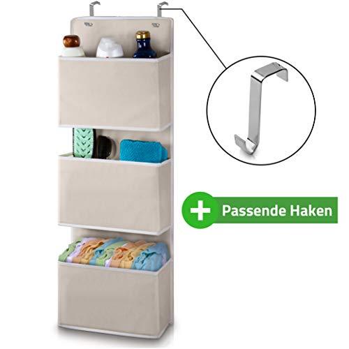 DRAXUS® Hängeorganizer mit passenden Haken I Premium Platzwunder I Das Hängeregal aus Stoff für die Tür - Beige I inkl. eBook