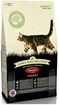 Rare James Wellbeloved Turkey And Rice Dry 1.5kg Cat Adult Year-end annual account Food -