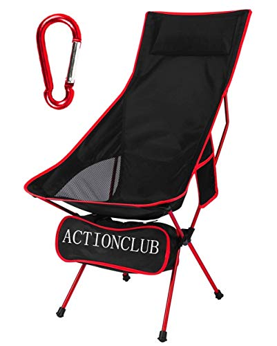 Lightweight Folding Camping Chair - Portable Camp Chair with Headrest and Carry Bag, Camping Chairs for Outdoor Picnic, BBQ, Fishing, Hiking (Red)