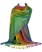 GFM Pashmina Style Scarf in Peacock Feathers Design (88)(NPCKPASH-P47-HR)