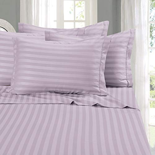 Elegant Comfort Best, Softest, Coziest 6-Piece Sheet Sets! - 1500 Thread Count Egyptian Quality Luxurious Wrinkle Resistant 6-Piece Damask Stripe Bed Sheet Set, Queen Lavender/Lilac
