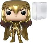 Figura de vinilo Wonder Woman Golden Armor Pop #323 Pop Heroes: Wonder Woman 84 (con protector EcoTek para proteger la caja de exhibición)