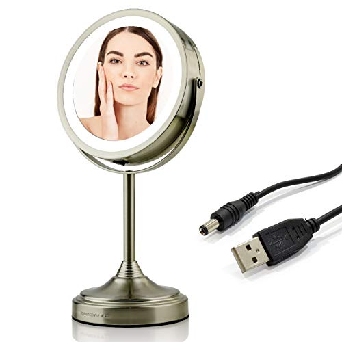 Ovente Lighted Vanity Mirror, Table Top, 360 Degree Rechargeable Double Sided Spinning 7