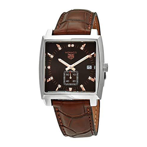 Tag Heuer Monaco WAW131E.FC6420 - Orologio da donna in pelle con quadrante con diamanti