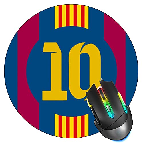 Barcelona Football Soccer Football Number Mouse Pad, Gaming Mouse Mat, Non-Slip Rubber Base Round Mousepad for Office Home Computer,7.9 inch