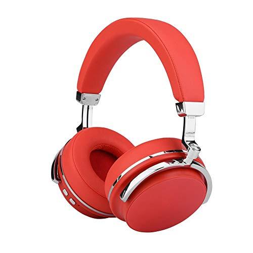 Mugast Draadloze headset, ANC Noise Cancelling Bluetooth 4.1 hifi-stereo sound muziek koptelefoon boven het oor met 16 uur werktijd en comfortabele oorbeschermers, rood