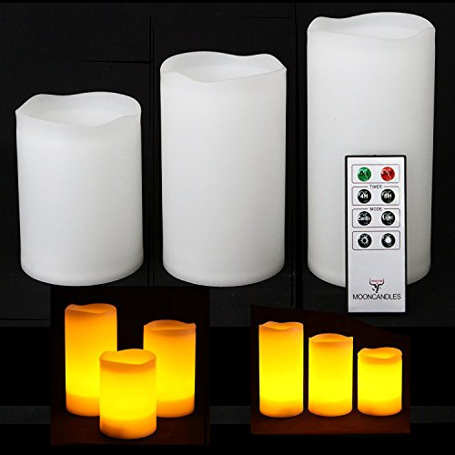 Frostfire Mooncandles - 3 Weatherproof Outdoor and Indoor Candles with Remote Control & Timer