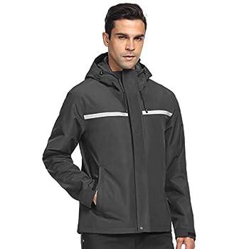 Freetrack Men's Rain Jacket Windbreaker Jackets Waterproof Recreation Raincoat for Outdoor Cycling Fishing Hiking Camping Golf   Grey M