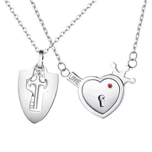 BOQIAN Juego de joyas de acero de titanio para parejas, collar con cerradura de corazón para pareja de cumpleaños, regalo de San Valentín, collar con colgante de pareja
