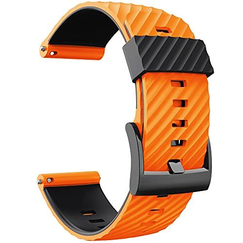 KINOEHOO Bracelet de montres Compatible avec Suunto 7/9/9 baro/D5/spartan sport Bracelets de remplacement en Silicone.(Orange noir)
