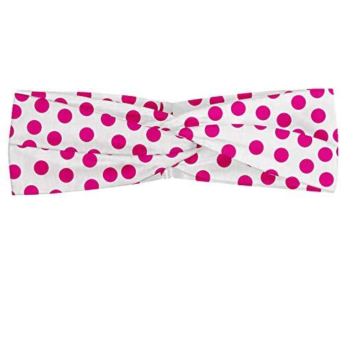 ABAKUHAUS Pink Dots Polka Bandeau, Monotone Motif asymétrique avec irrégulière Rounds sur Objet ou sujet détouré, Serre-tête Féminin Élastique et Doux