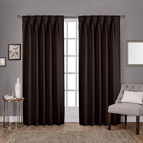 Home Décor Double Pinch Pleated Blackout Window Curtain Panels & Drapes and Thermal Insulation Handmade (2 Panels Combined Size, Coffee 52 Inch by 63 Inch)