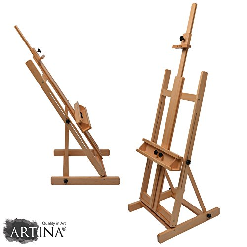 Artina Ateliertaffelei Studiostaffelei Toulouse Staffelei aus massivem Buchenholz für Leinwände bis ca. 200cm geeignet