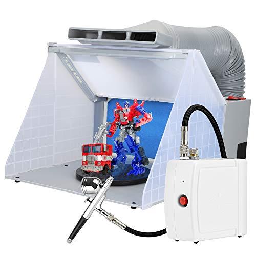 Kacsoo Kit de tuyau de cabine de pulvérisation de pièces de modèle de jouet d'aérographe, table tournante de cabine de pulvérisation d'artisanat de peinture + lumière + pistolet de pulvérisation