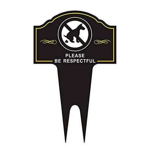 HEIOKEY Double Sided No Dog Pooping Sign with Stake 12 x 6 Sign Politely Reads:Please Be Respectful Thank You,No Dog Poop and Pee Yard Sign Stop Dogs from Pooping On Your Lawn,No Poo Sign