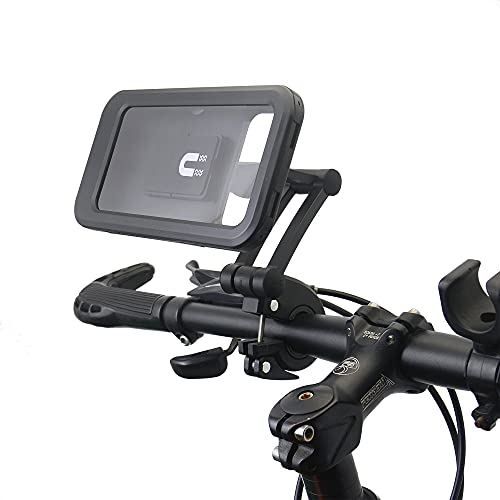 ZHZHO Soporte para teléfono de bicicleta con banda de almacenamiento, soporte magnético impermeable ajustable, para manillar de bicicleta y motocicleta
