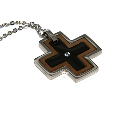 NALBORI Acciaio Anallergico : Esclusiva Collana rolo' Ciondolo Croce Puzzle 3 Colori zircone