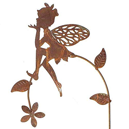 Stecker Elfe Fee auf Zweig Metall L44,5cm Weiss oder rost Garten Deko Pick Stab, Farbe:rost