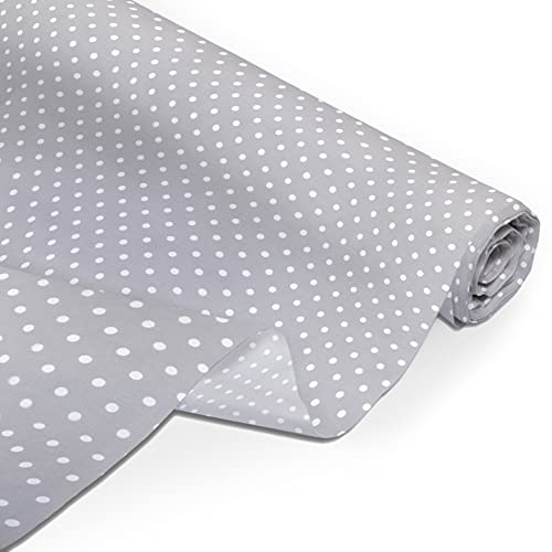 Amilian - Tela de algodón por metro, paquete de tela: de aprox. 160 x 50 cm, para coser, hacer patchwork, de algodón 100 %, tela de costura, diseño de puntos, gris