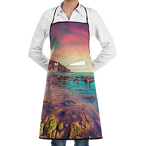 LOSNINA Delantal de cocina impermeable para hombres delantal de chef para mujeres restaurante de jardinería BBQ cocinar hornear,La playa de Giallonardo, Sicilia, Italia, el Mar Mediterráneo, Europa