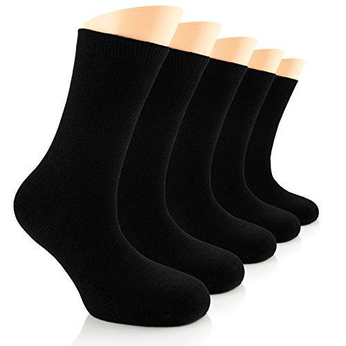 Elite Women's Casual Bamboo Dress Socks, (Black 5 Pairs)