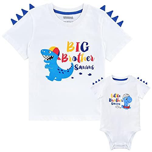 Hermano Mayor Hermano Pequeño Camisetas Conjunto Dinosaurio Regalo Niños Camiseta Y Bebé Body algodón Anuncio Embarazo Manga Corta Trajes Blancos Recién Nacidos Estampada(3-4 años 0-3 Meses)