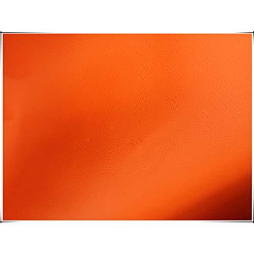 NAKAN Tela de Piel Sintética Naranja 100x138cm Tela de Vinilo Polipiel para Tapizar, Restauración de Muebles, Funda de Asientos, Bolsos