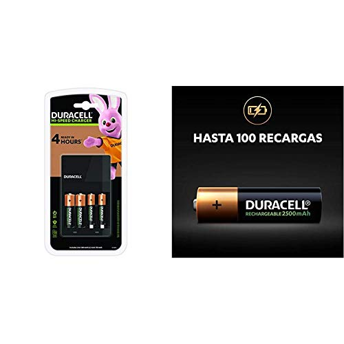 Duracell 4 Hours Battery Charger with 2 AA and 2 AAA & Rechargeable AA 2500 mAh Batteries Ideal for Xbox Controller, Pack of 4