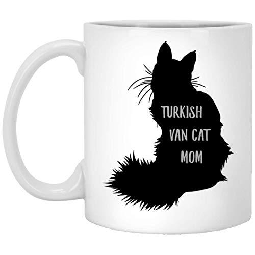 N\A Linda Taza de café Blanca con Silueta de Gato Van Cat Turco para Mujer, 11 oz