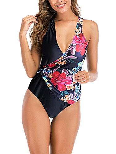 Vialogry Bikini de una sola pieza con estampado floral sexy de las mujeres de impresión de moda vendaje costura sin espalda chaleco estilo traje de baño