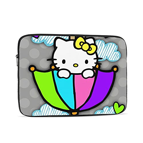 Hello Kitty Cartoon Waterproof Laptop Shoulder Messenger Bag Polyester Zipper, for 12 inch Case Sleeve Protective Soft Padded