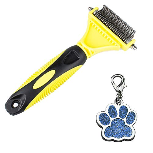 Pet Grooming Tool - 2 Sided Undercoat Rake for Cats & Dogs - Safe Dematting Combs for Easy Mats & Tangles Removing - The Best Choice for Dog Comb