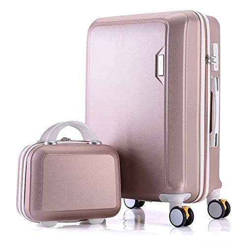 Mdsfe ABS + PC luggage set travel suitcase on wheels Trolley luggage carry on cabin suitcase Women bag Rolling luggage spinner wheel - Rose gold set, 22'