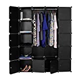 Devo Portable Wardrobe for Hanging Clothes, Cube Storage Organizer, DIY Closet Clothes Plastic Wardrobe for Space Saving (20 Cubes) with Hammer, Black