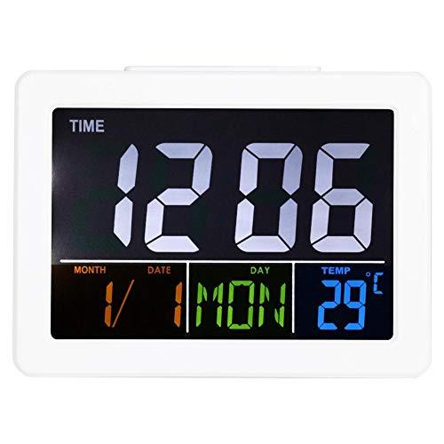 Raguso Reloj electrónico con pantalla grande LED LCD digital despertador reloj despertador pantalla de temperatura para viajes, hogar, oficina, decoración de escritorio