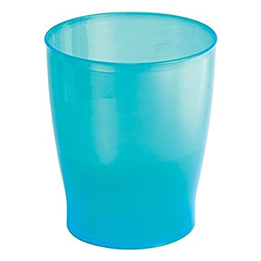 mDesign Slim Round Plastic Small Trash Can Wastebasket, Garbage Container Bin for Bathrooms, Powder Rooms, Kitchens, Home Offices, Kids Rooms - Turquoise Blue