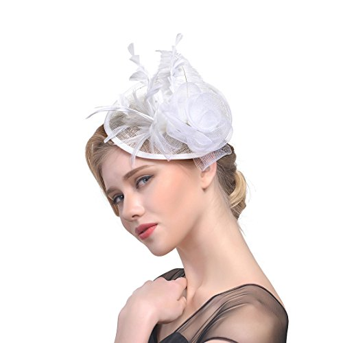 Fashband Braut Birdcage Schleier Fascinator Hut Blume Mesh Federn auf einem Stirnband und einem Clip Cocktail Tea Party Headwear Derby Kentucky Rennen Zeremonie Zylinder für Mädchen und Frauen (Weiß)