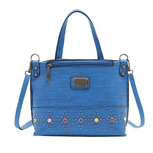 ESAILQ Couleur unie sac à bandoulière rivet sac à bandoulière sac à bandoulière sac de mode pour dames