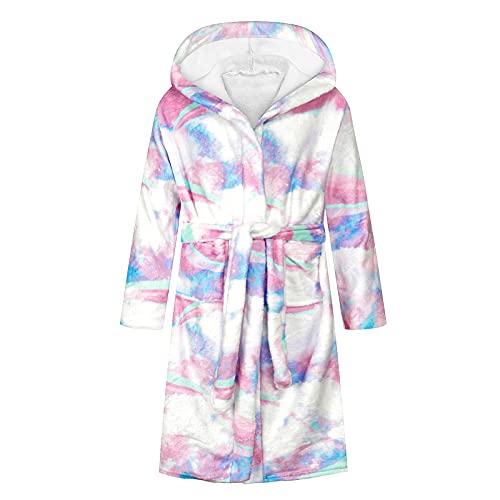 Teen Kids Boys Girls Hooded Warm Flannel Fleece Towel Robe Bathrobe Soft Pajamas Sleepwear,Long Sleeve Hoodie White