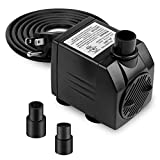 BARST 211GPH Submersible Pump(800L/H, 12W), Ultra Quiet Aquarium Pump for Fountains, Pool, Fish Tank, Pond, Statuary Fountain Pump with 4 Strong Suction Cups,3 Nozzles