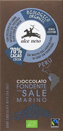 Alce Nero Tableta de Chocolate Negro con Sal Marina Bio, 50g