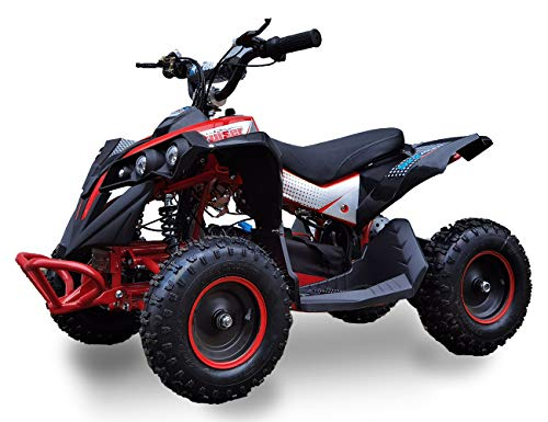 SYX MOTO Bruiser Kids Mini ATV 36V 800W Dirt Quad Electric Four-Wheeled Off-Road Vehicle, 5-7.5-12.5mph, with Reversing Switch, Red